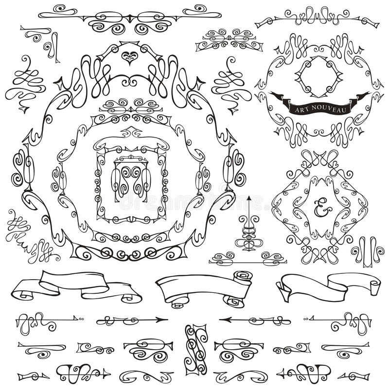Calligraphic Royal Design Elements.Frames,Borders stock illustration