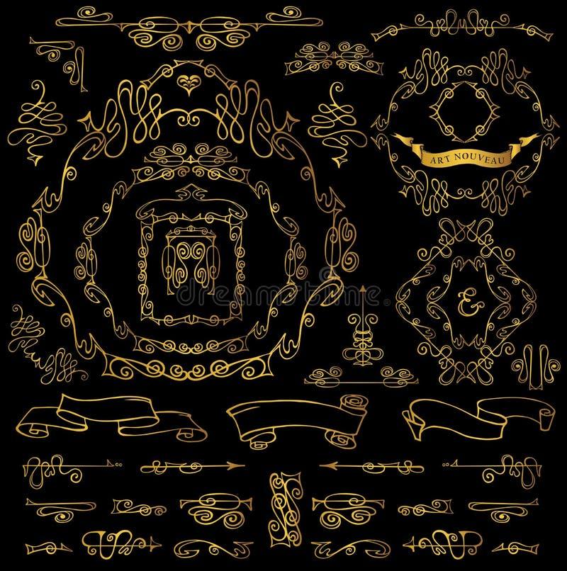 Calligraphic Royal Design Elements.Gold Frames,Borders,ribbons royalty free illustration