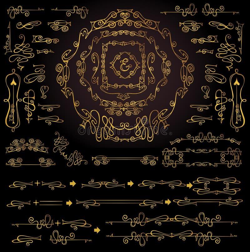 Calligraphic Royal Design Elements.Gold Frames, Borders, Swirls stock illustration