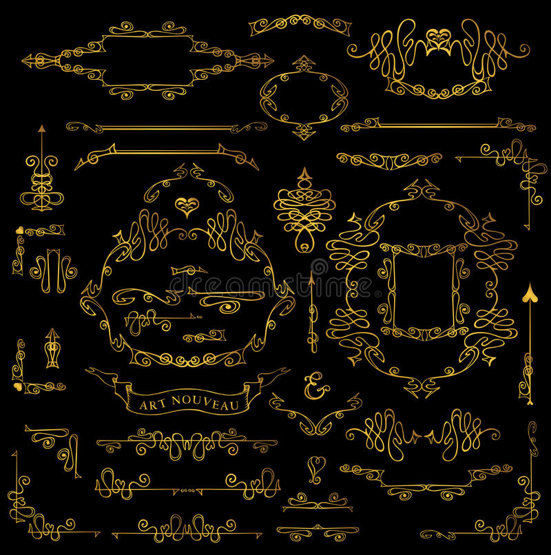 Calligraphic Royal Design Elements set.Gold Frames, Borders, Swi stock illustration