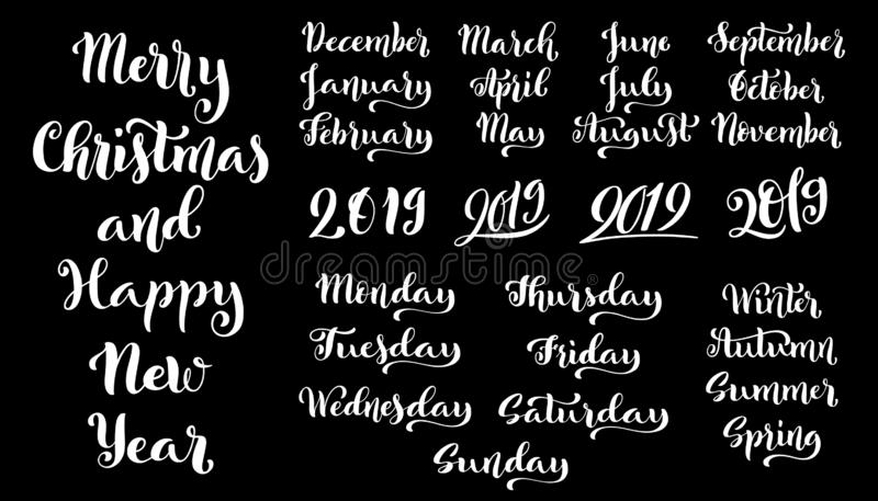 Calligraphic set of months of the year 2019 and days of week. December, January, February, March, September, October. stock illustration