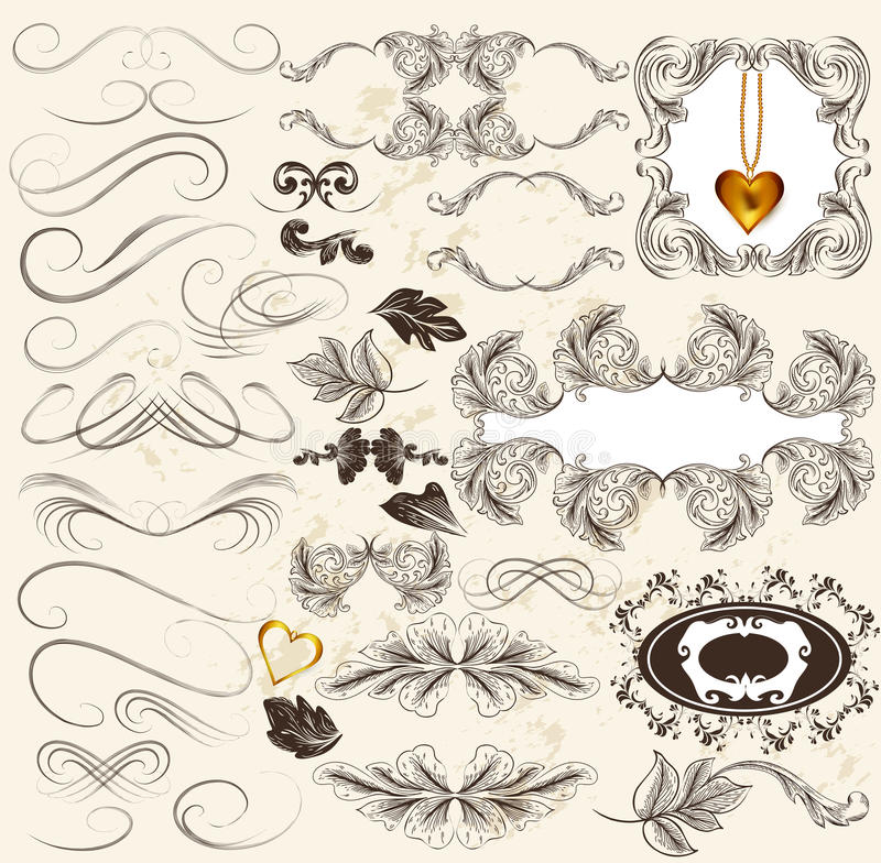 Download Calligraphic Set Of Retro Design Elements And Page Decorations Stock Vector - Image: 28674343