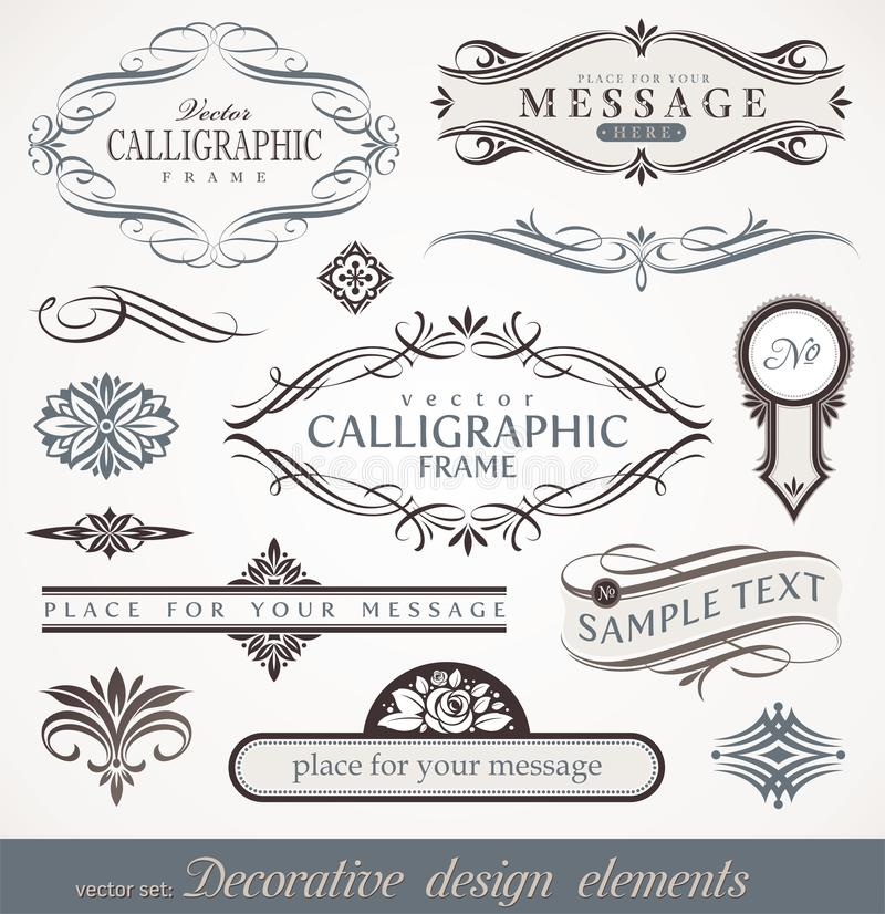Calligraphic sida för dekordesignelement