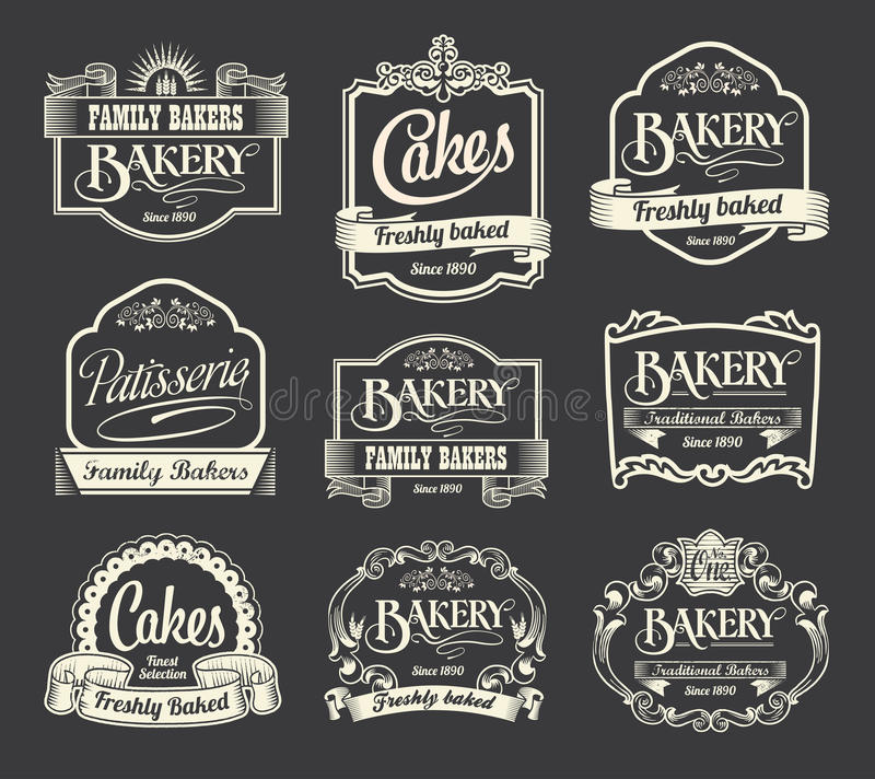 Calligraphic sign and label design set. Vintage retro labels for signs and menus. Bakery, patisserie and cakes royalty free illustration