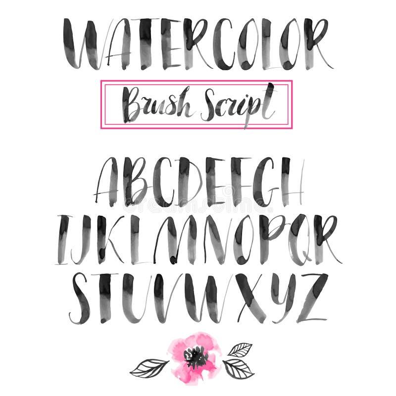 Calligraphic stilsort för handskriven vattenfärg Modern borstebokstäver royaltyfri illustrationer
