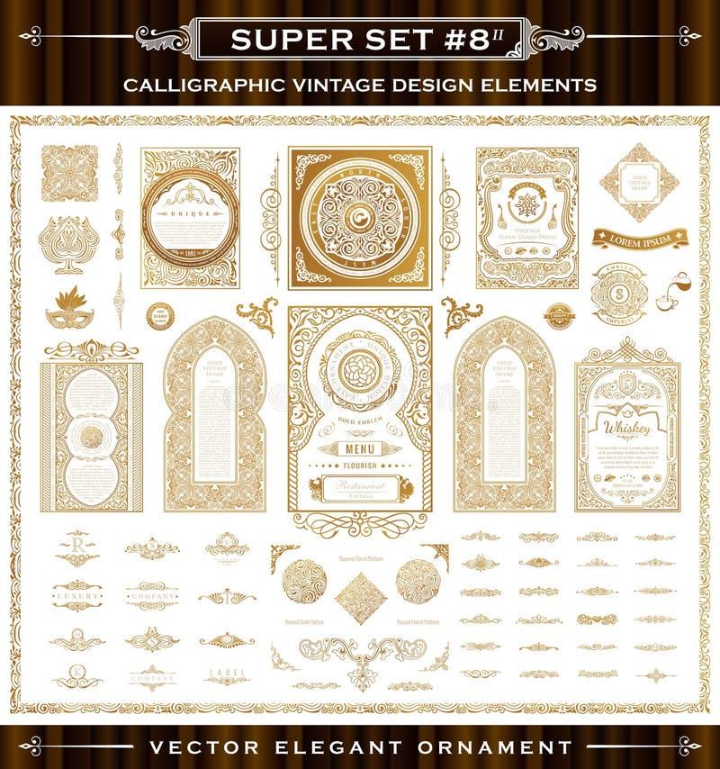 Calligraphic tappningbeståndsdelar Vektorbarockuppsättning royaltyfri illustrationer