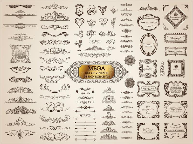 Calligraphic tappningbeståndsdelar Vektorbarockuppsättning Designsymboler vektor illustrationer