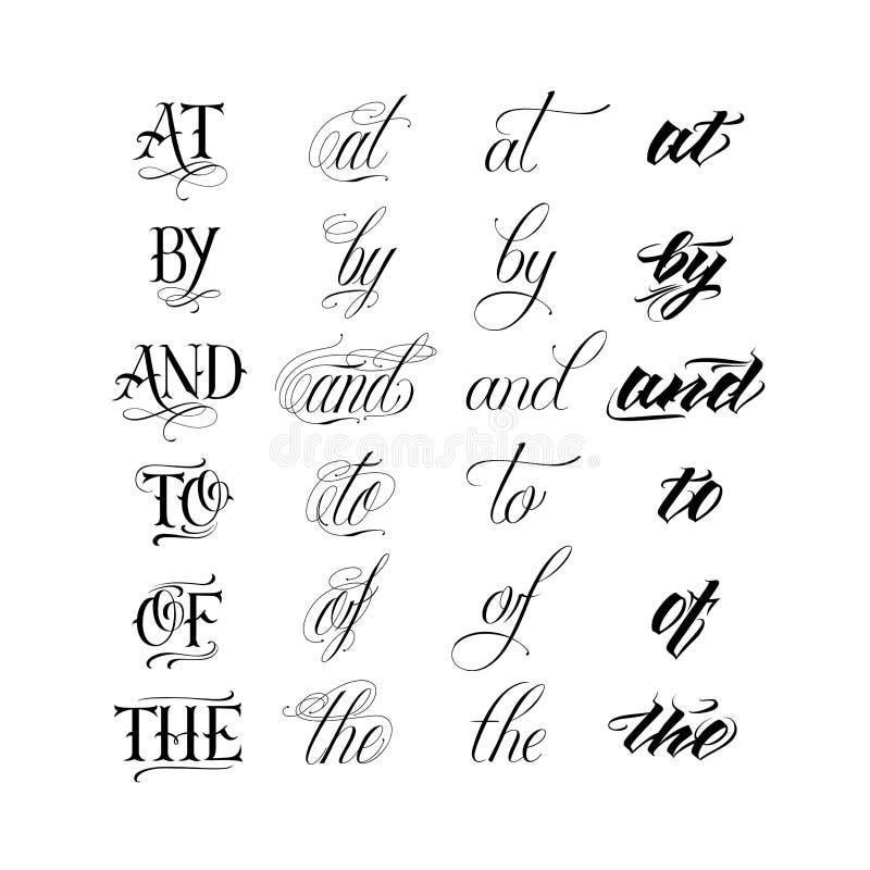 Calligraphic tattoo lettering set vector illustration