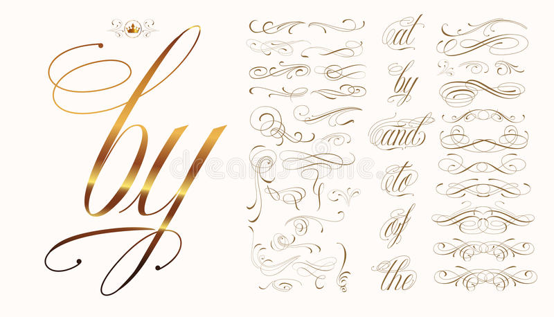 Calligraphic tattoo set stock illustration