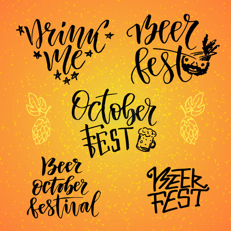 Calligraphic uppsättning för Oktober Fest Ölfesten dricker mig Handskriven bokstäver för feriegarnering vektor illustrationer