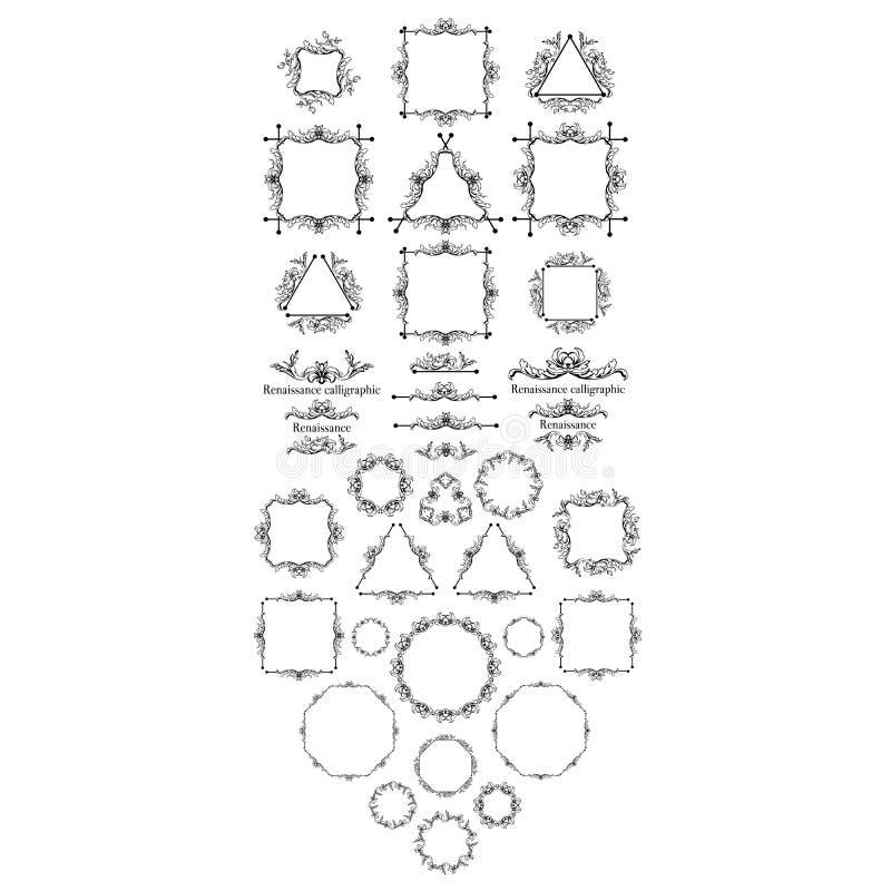 Calligraphic uppsättning för tappningstil av gränser, understrykningar som bläddrar beståndsdelar, utsmyckad huvudbonad, sidadeko vektor illustrationer