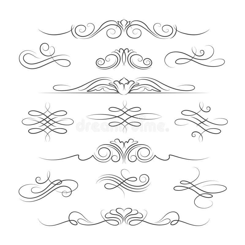 Calligraphic utsmyckade garneringbeståndsdelar för tappning royaltyfri illustrationer