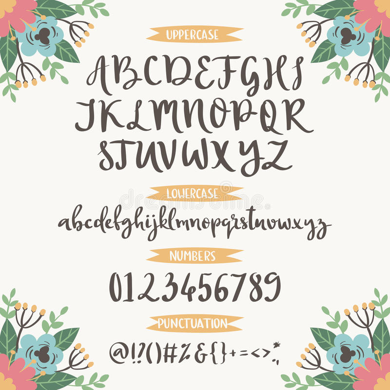 Calligraphic vector font with floral nature numbers ampersand and symbols flower hand drawn alphabet lettering vector illustration