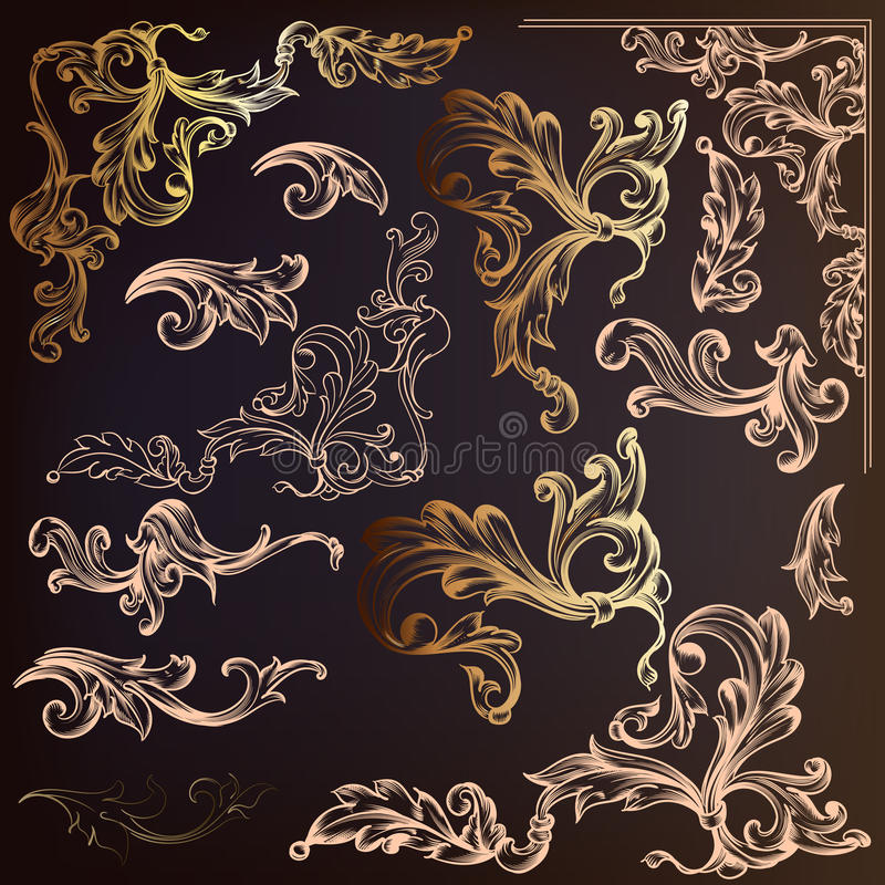 Calligraphic vector vintage design elements and swirls in gold c royalty free illustration