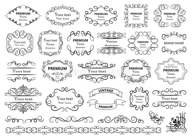 calligraphic vektor för designelementbild Dekorativa virvlar eller snirklar, tappning inramar, krusidullar, etiketter och avdelar stock illustrationer