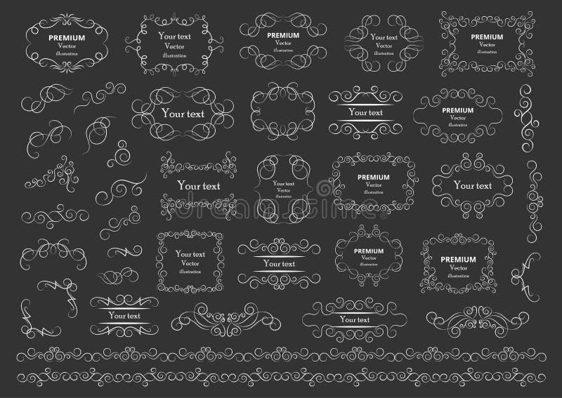 calligraphic vektor f?r designelementbild Dekorativa virvlar eller snirklar, tappning inramar, krusidullar, etiketter och avdelar stock illustrationer
