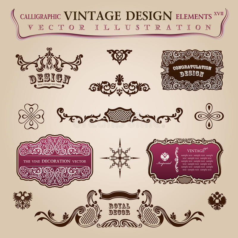 Download Calligraphic Vintage Elements Congratulation Stock Vector - Image: 25768226