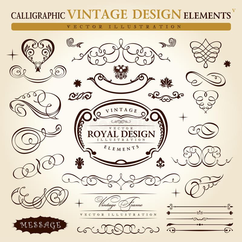 Calligraphic vintage ornament Vector frame royalty free illustration