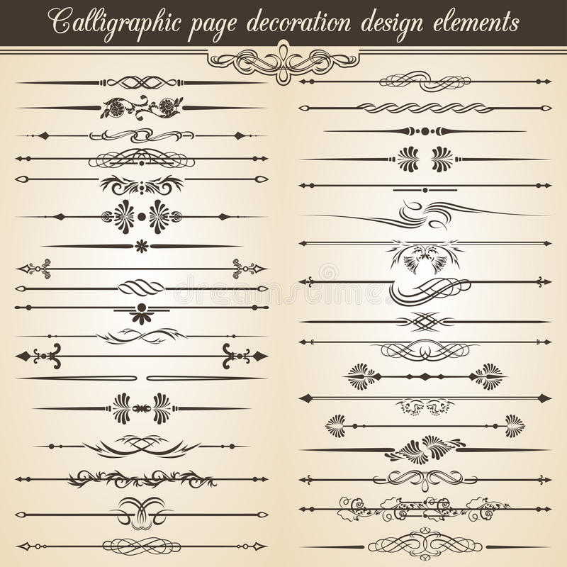Calligraphic vintage page decoration design elements. Vector Card Invitation Text Decoration. Calligraphic stock illustration