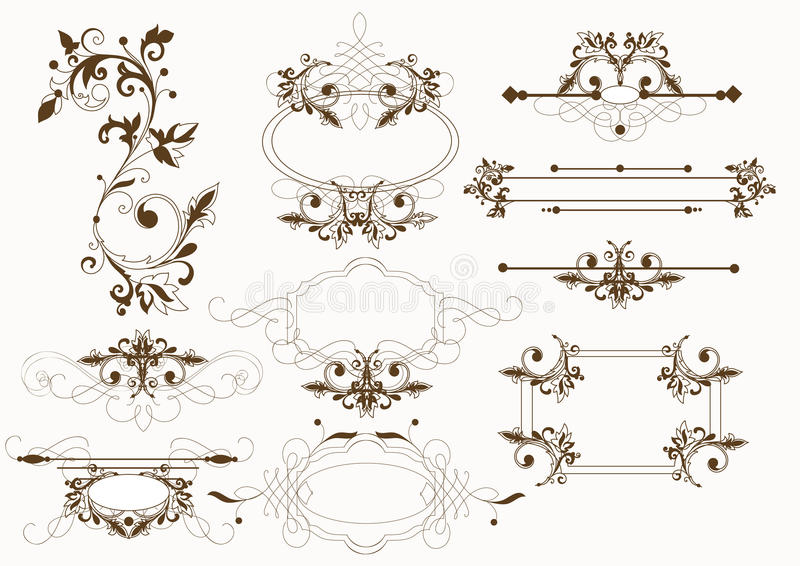 Calligraphic vintage vector elements royalty free illustration