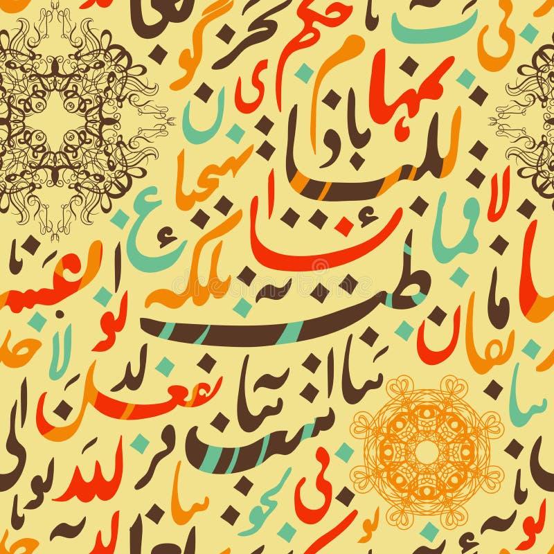 Calligraphie arabe d'ornement sans couture de modèle de concept d'Eid Mubarak des textes pour le festival de communauté musulman  illustration stock