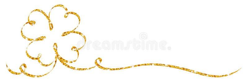 Calligraphie d'or simple de scintillement de ruban de feuille de trèfle illustration stock