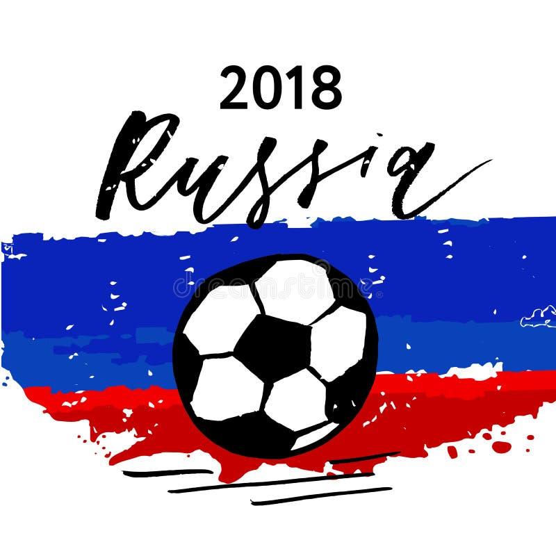 Calligraphie 2018 de lettrage de vecteur de drapeau du football de la Russie illustration libre de droits