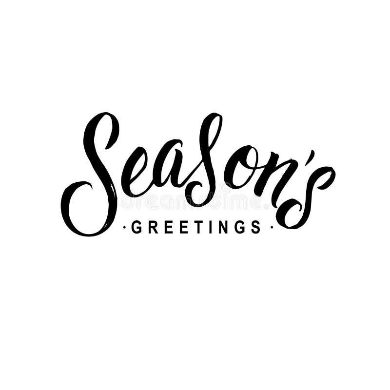 Calligraphie de salutations de saisons Typographie de carte de voeux sur le fond illustration libre de droits