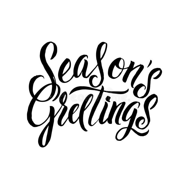 Calligraphie de salutations de saisons Typographie de noir de carte de voeux sur le fond blanc illustration de vecteur
