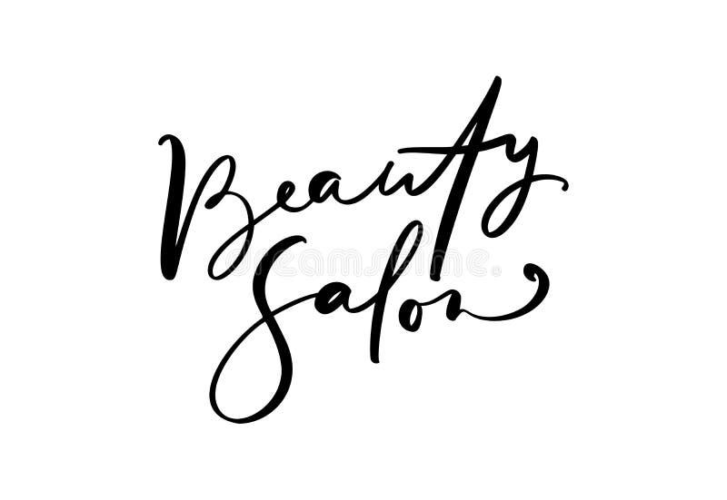 Calligraphie marquant avec des lettres le salon de beauté des textes Coiffeur plat de logo d'illustration de vecteur de conceptio illustration stock