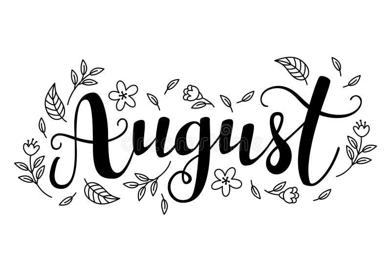 Calligraphie mignonne de brosse du mois de l'année illustration stock