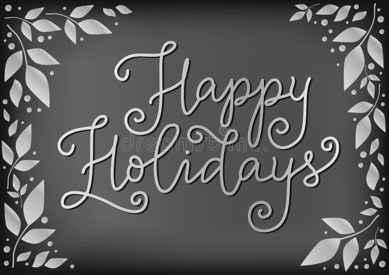 Calligraphie moderne de bonnes fêtes dans le blanc sur le fond de tableau décoré des feuilles et des points illustration stock