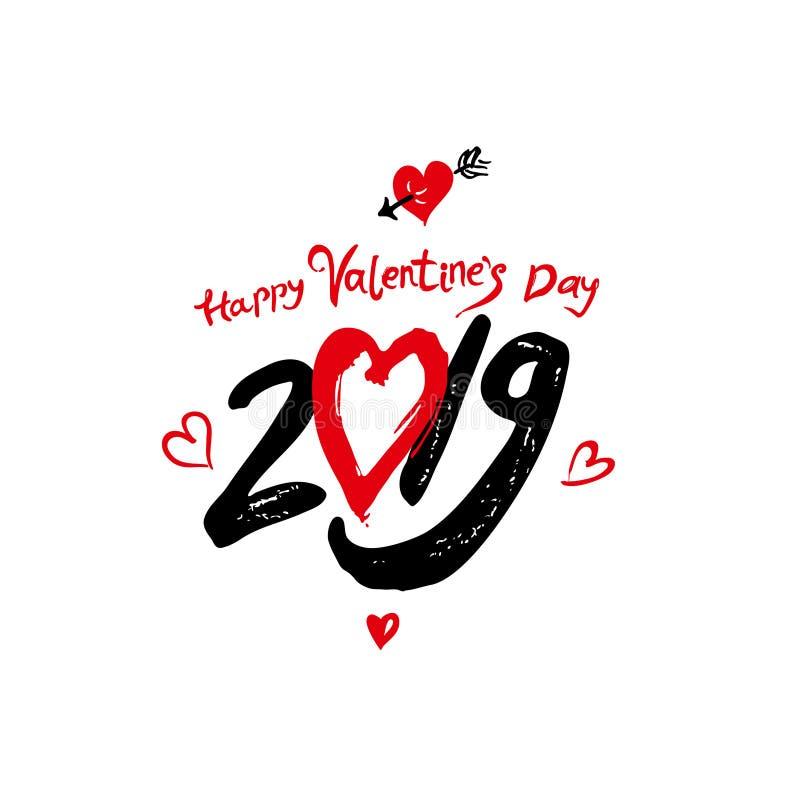 Calligraphie moderne de la Saint-Valentin 2019 heureux Lettrage manuscrit Texte calligraphique noir et rouge avec les coeurs roug illustration de vecteur