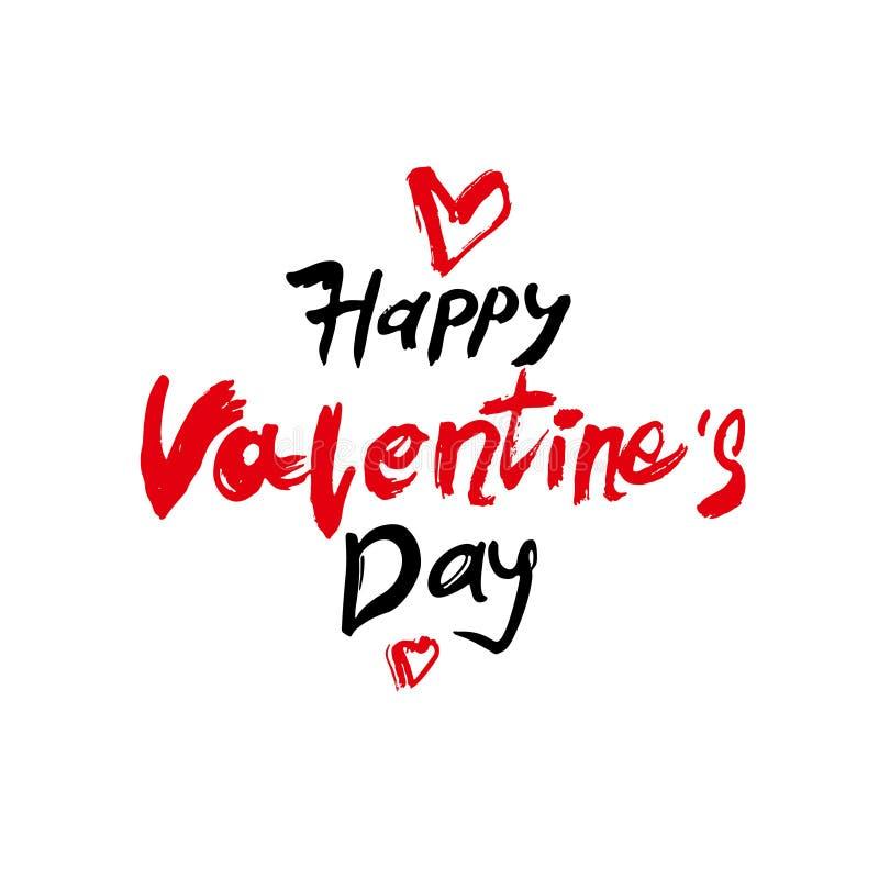 Calligraphie moderne de Valentine de jour heureux du ` s Typographie de vacances de jour de valentines Lettrage manuscrit illustration de vecteur