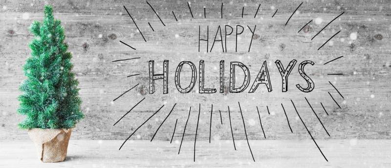 Calligraphie noire, bonnes fêtes, arbre de Noël, flocons de neige photographie stock