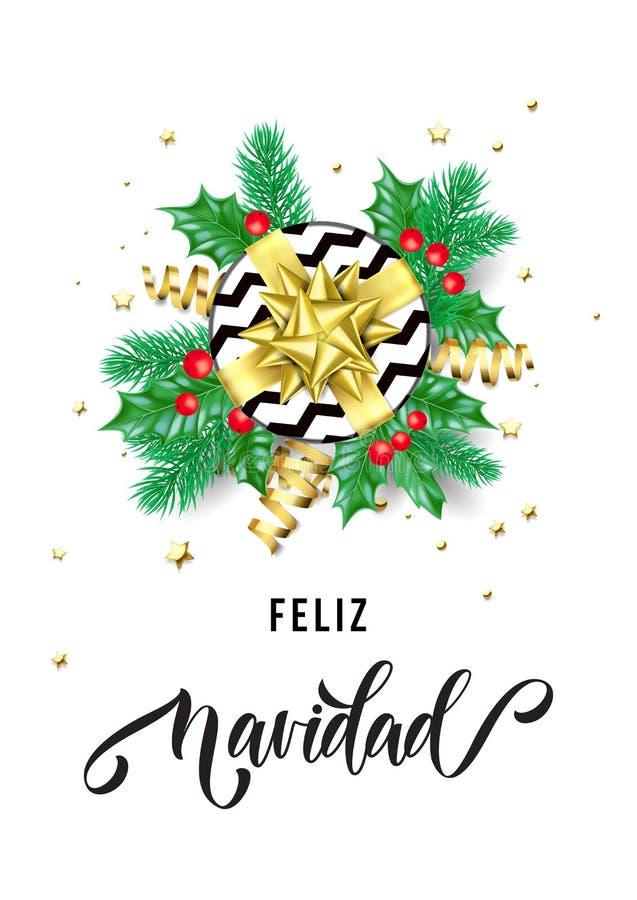 Calligraphie tirée par la main de Feliz Navidad Spanish Merry Christmas pour le calibre de fond de carte de voeux de vacances vec illustration stock