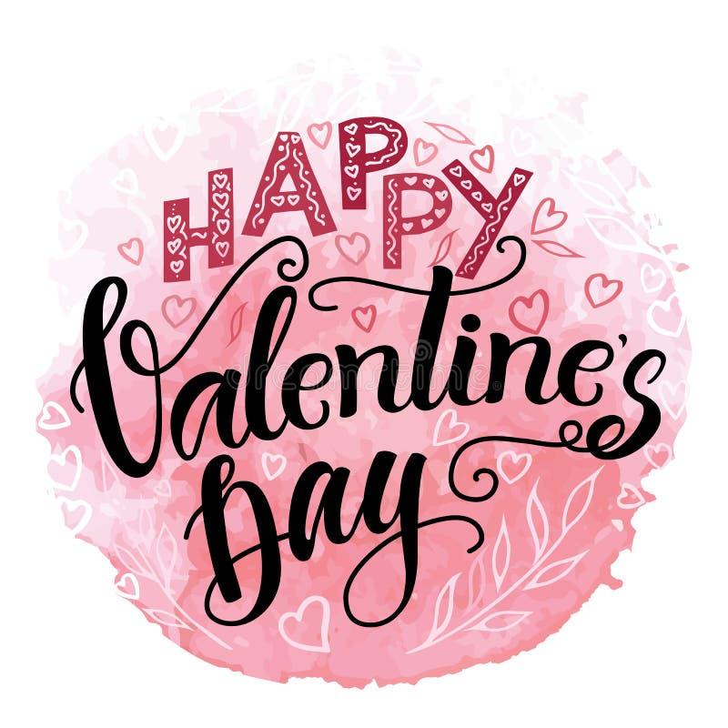 Calligraphie tirée par la main de valentine de jour heureux du ` s illustration libre de droits