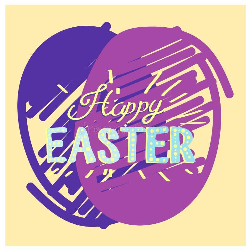 Calligraphie tirée par la main heureuse de Pâques Carte postale de couleur de ressort, conception pour la carte de voeux de vacan illustration de vecteur