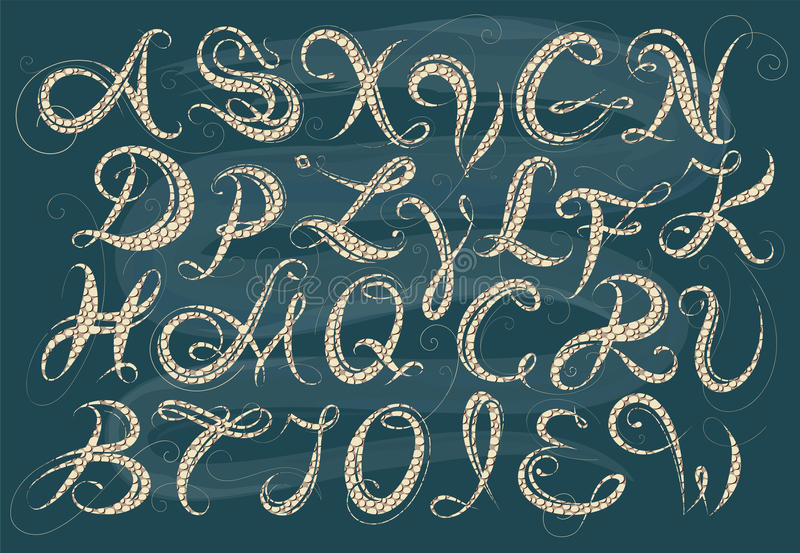 Calligraphy alphabet stock vector. illustration of alphabet 59025062