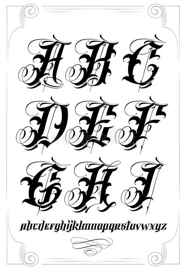 Download Calligraphy Alphabet Stock Vector Illustration Of Chicano