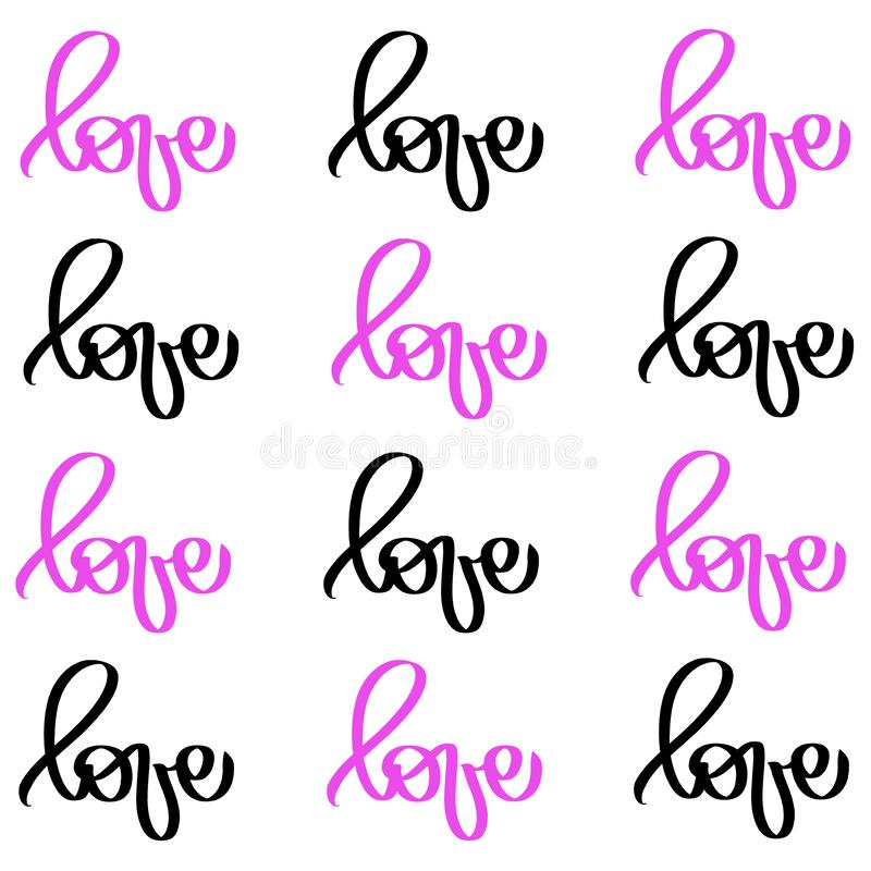 Calligraphy black pink word Love. Vector Valentines Day Hand Drawn lettering. Heart Holiday Design valentine card. love decor royalty free illustration