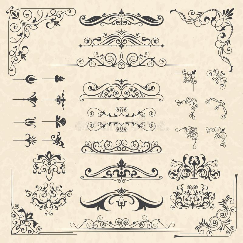 Calligraphy borders corners. Classic vintage ornament victorian old frames vector design elements royalty free illustration