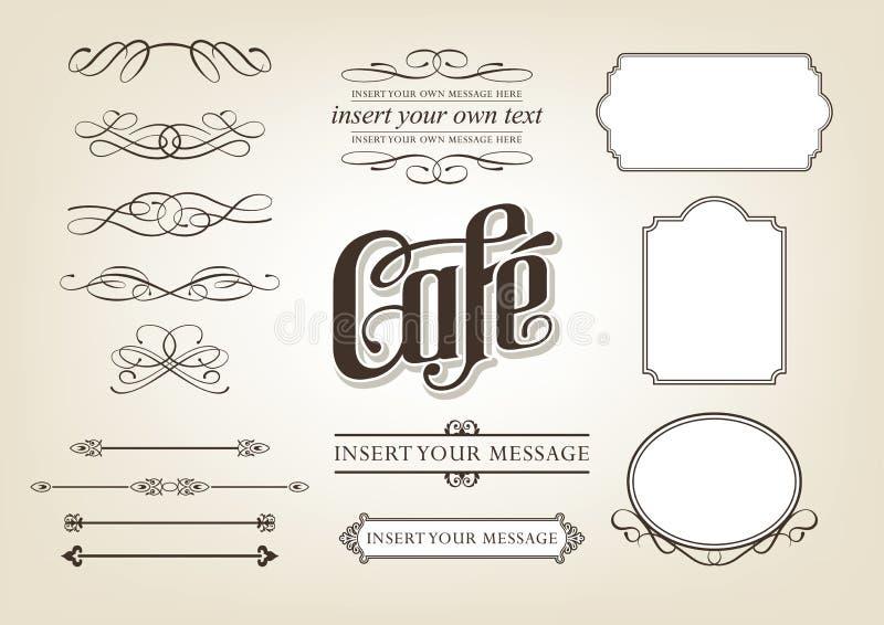Calligraphy Cafe Set royalty free illustration