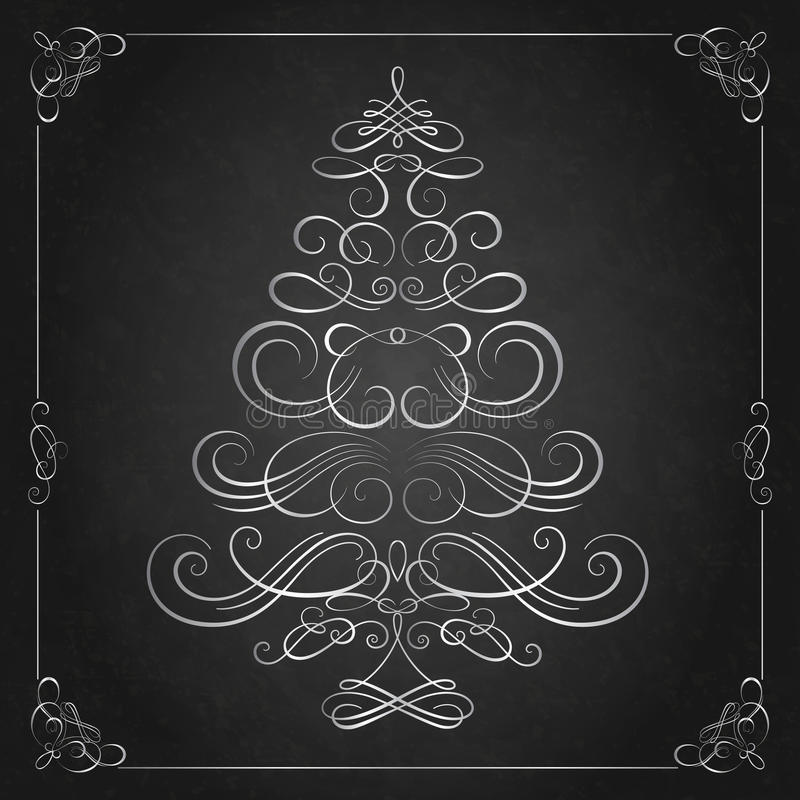 Free Calligraphy Christmas Tree. Royalty Free Stock Images - 63605379
