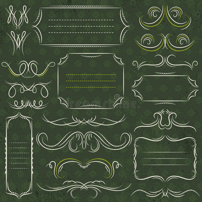 Calligraphy decorative borders, ornamental rules, dividers, vect stock photos