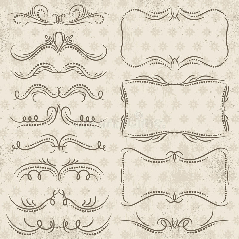 Calligraphy decorative borders, ornamental rules, dividers vector illustration