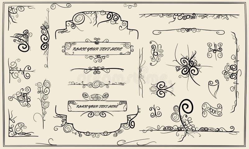 Calligraphy doodle design elements. And page frame decoration vector illustration