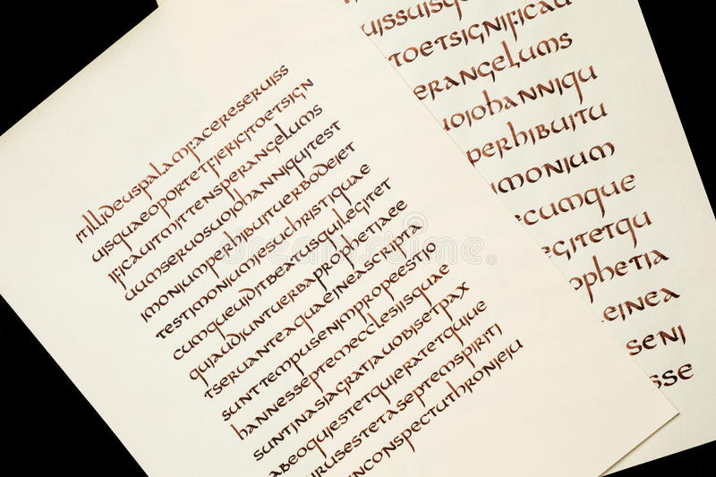 Calligraphy exercises. Handwritten excerpt from the Holy Bible vector illustration