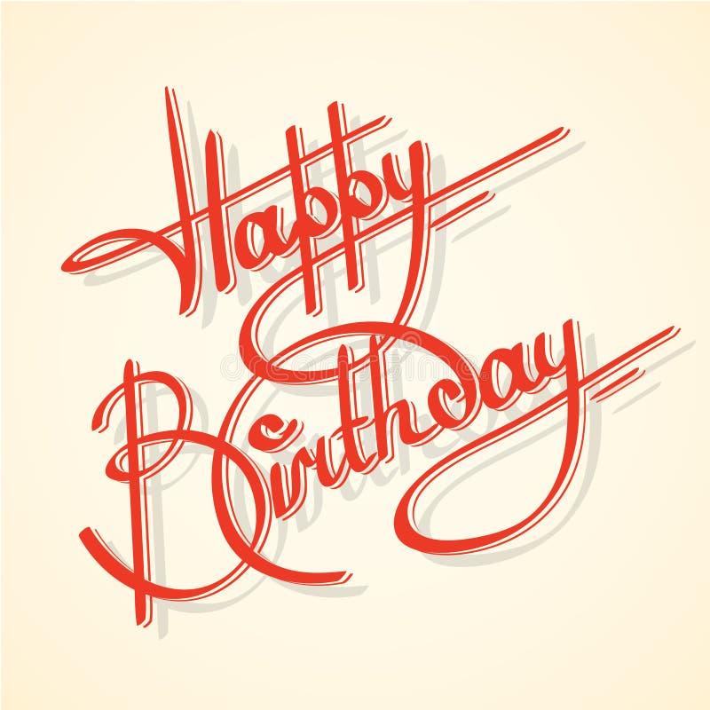 Calligraphy happy birthday stock illustration