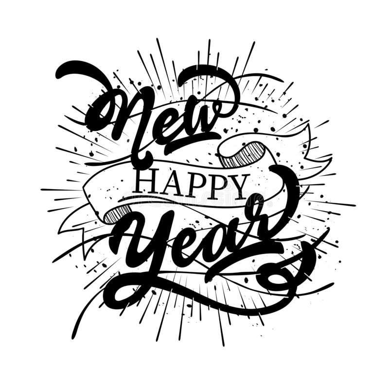Calligraphy of Happy New Year text with black rays effect. stock illustration